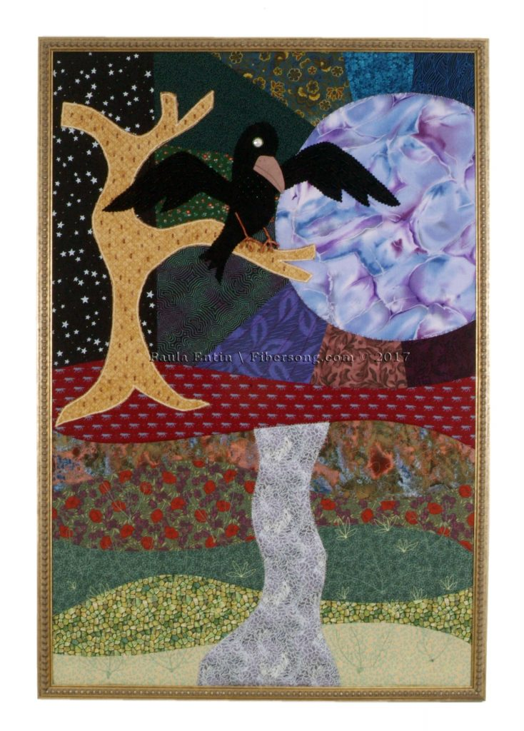 """Silvered fabrics and bead-covered moon shine down on the wolves as they wend their way through the forest.  A quiet crow contemplates the scene.  Framed; 26"""" wide x 38"""" high."""