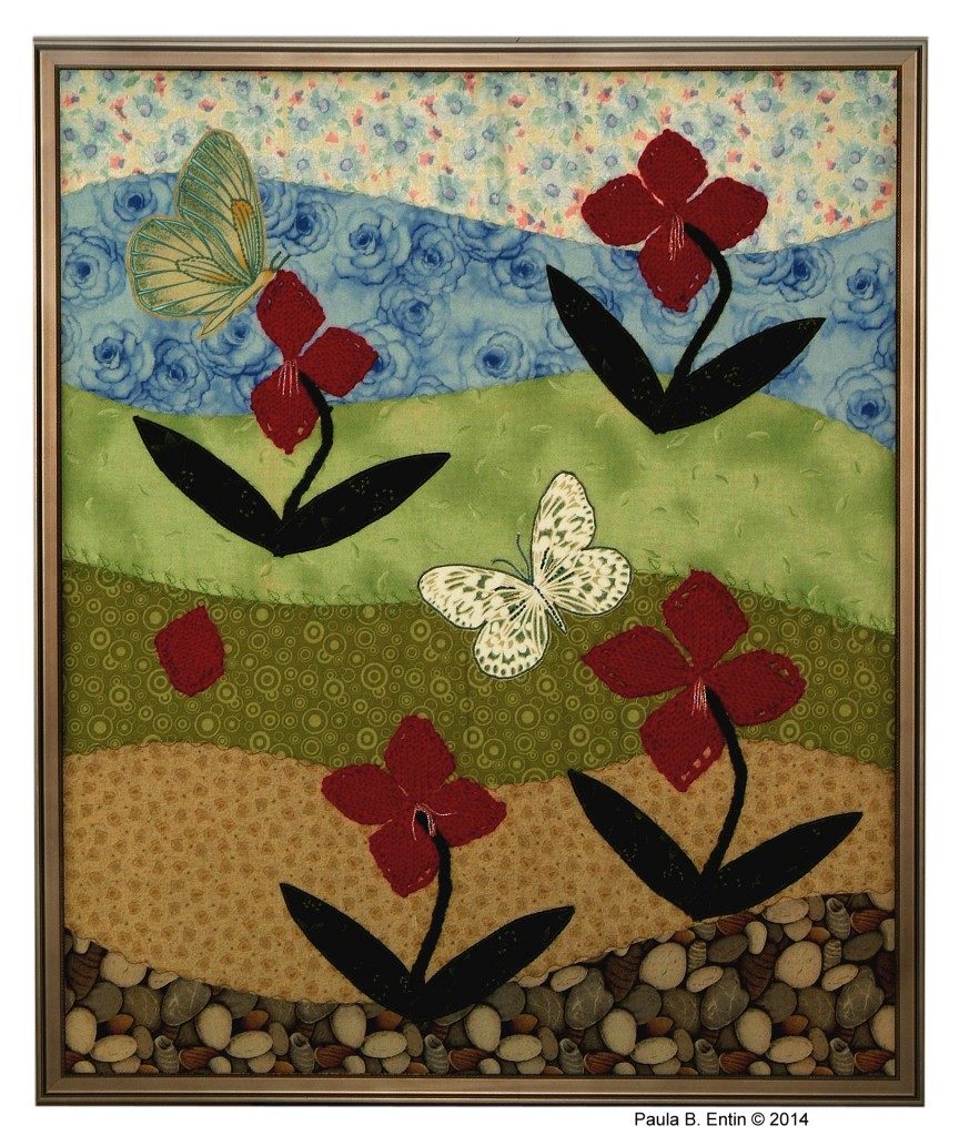 """.......... Field of Flowers II ..........IA cheerful spring landscape adorned by butterflies. Framed; 25"""" wide x 31"""" high. Original design © 2015 by Paula B. Entin. All rights reserved."""