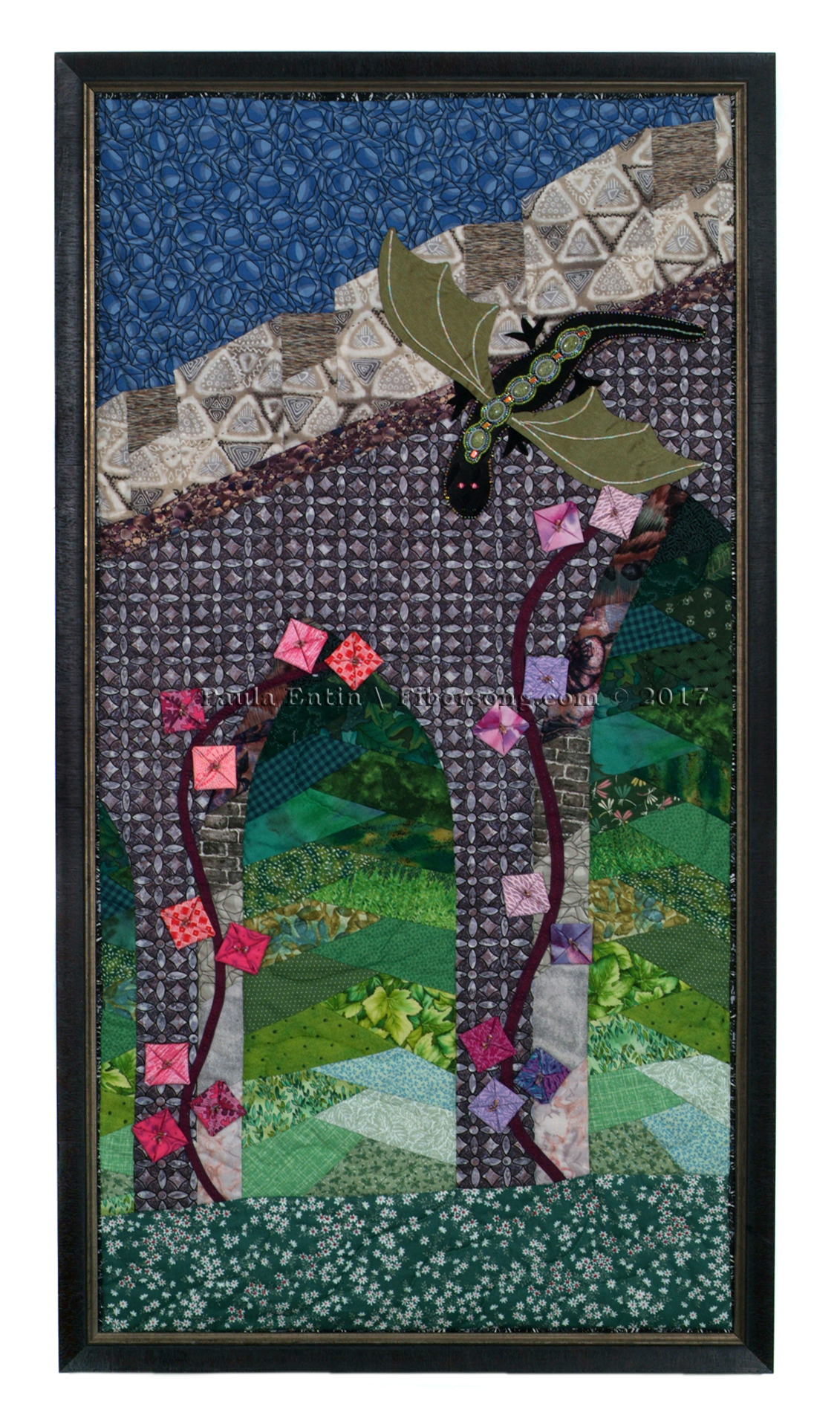 "Inspired by Emma Bull's novel ""Finder"", where the borders between Faerie and mundane thin, but we can only see beyond the wall, not actually pass through.   Framed; 21' wide x 39"" high."