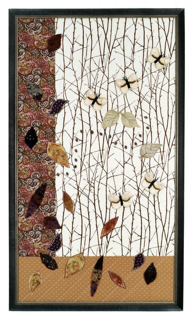 """""""White Brilliance of Trees""""  Spare birch trees surrounded by swirling leaves, elegant white butterflies,  and a gust of wind portrayed in beads.  Framed; 22"""" wide x 39"""" long.  Original design © 2018 Paula B. Entin"""
