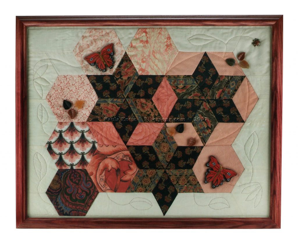 An oriental gathering of fabrics, enhanced by Czechoslovakian polymer clay butterflies. 